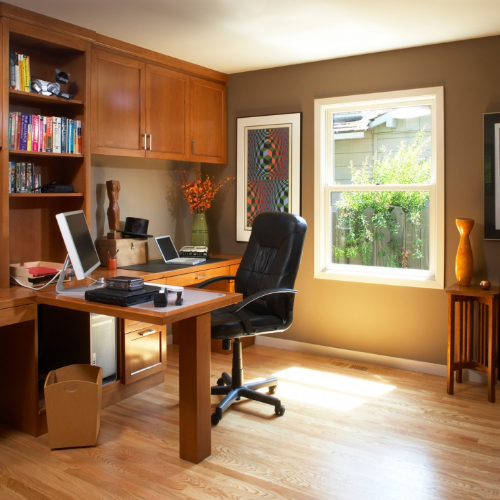 wooden home office decor