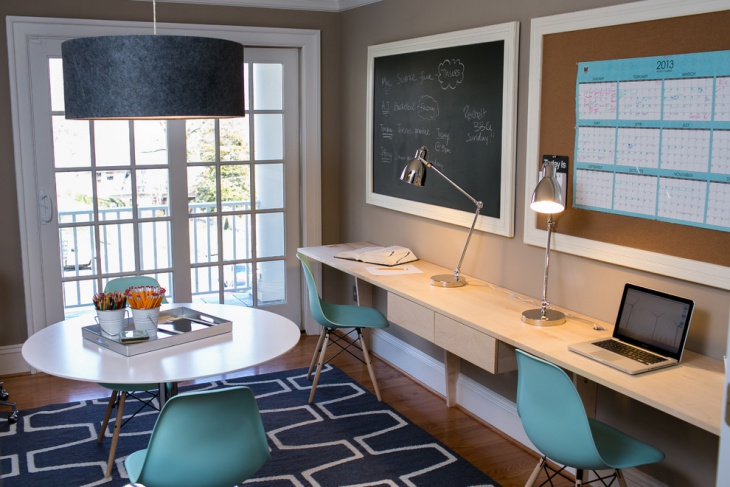 home office chalkboard wall
