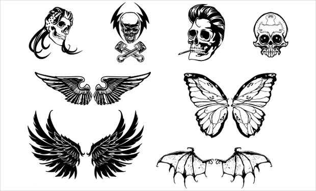 Skull and Wings Vector Set