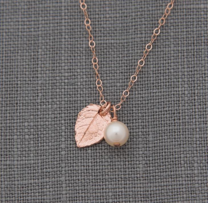 Rose Gold Leaf Pendant Necklace