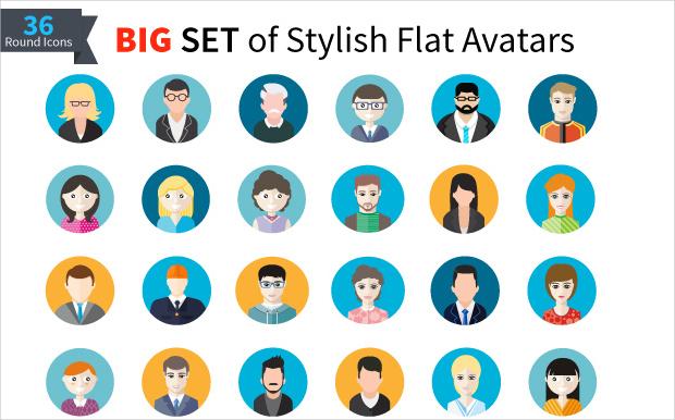 Men and Women Stylish Flat Avatar Icons