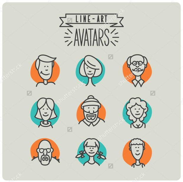 Line Art Avatar Icons