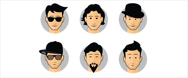 vector male avatar icons