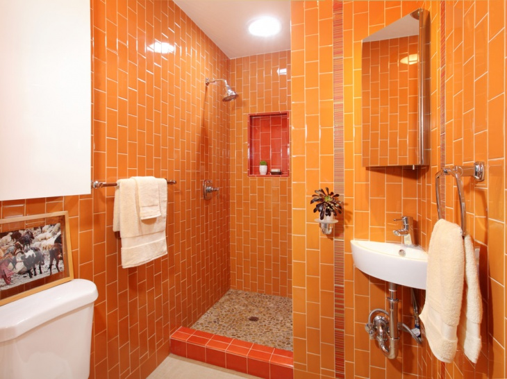 bathroom shower orange wall tiles