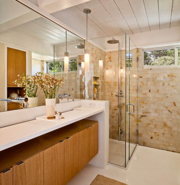 bathroom shower onyx tile idea