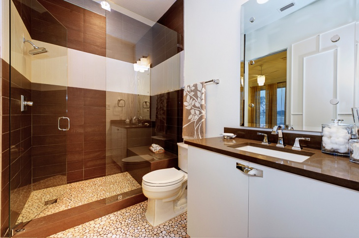 bathroom shower brown tiles idea