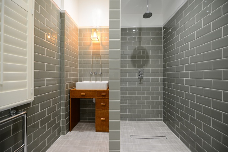 bathroom shower gray wall tiles