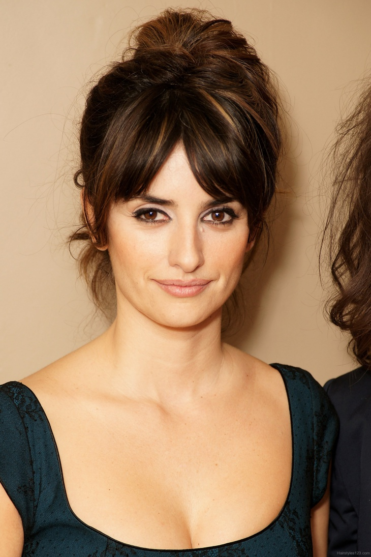 penelope cruz beehive tucked in hair