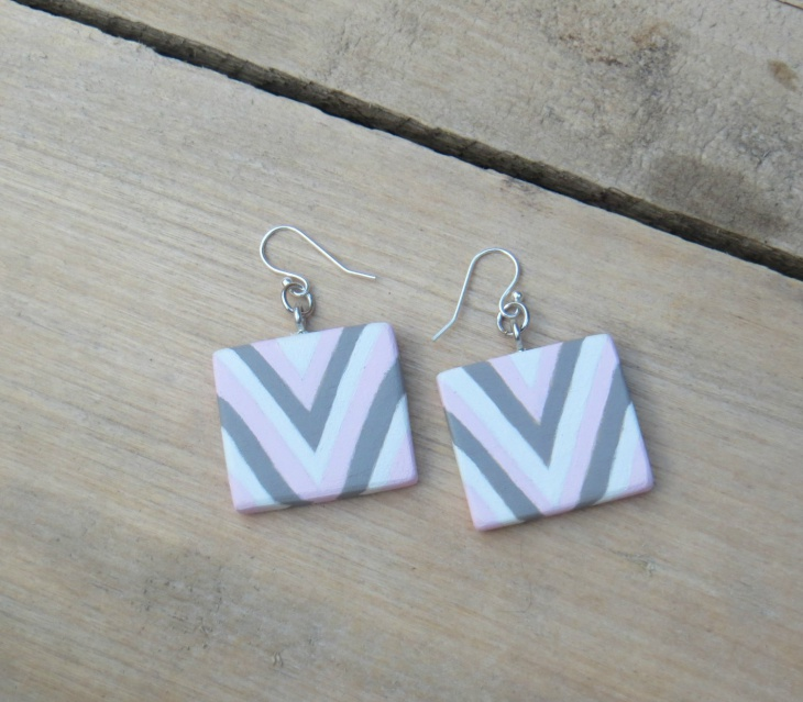 wooden geometric earrings
