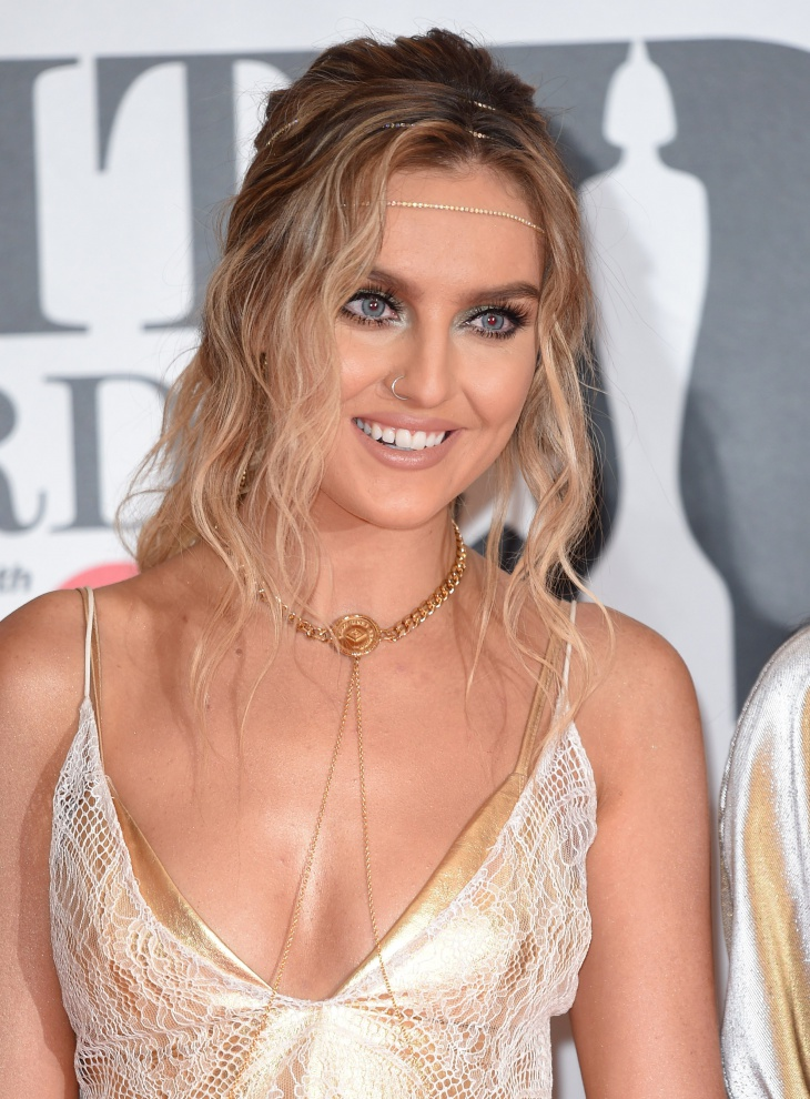 perrie edwards tucked headband hairstyle