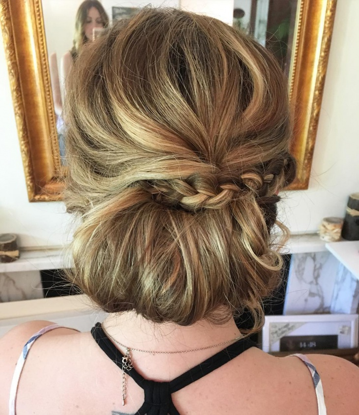 tucked braids bun updo