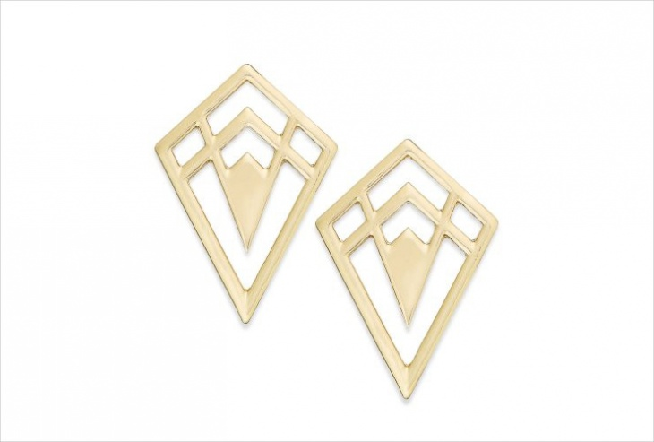 geometric diamond studs earrings