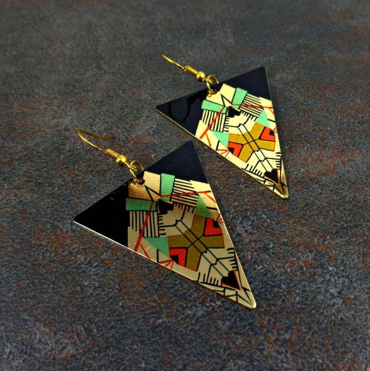 Geometric Print Earrings Idea