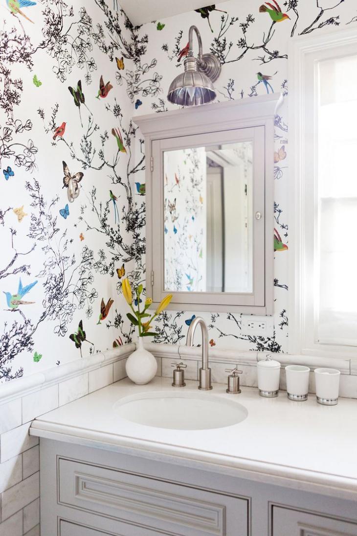 Floral Wallpaper in Bathroom