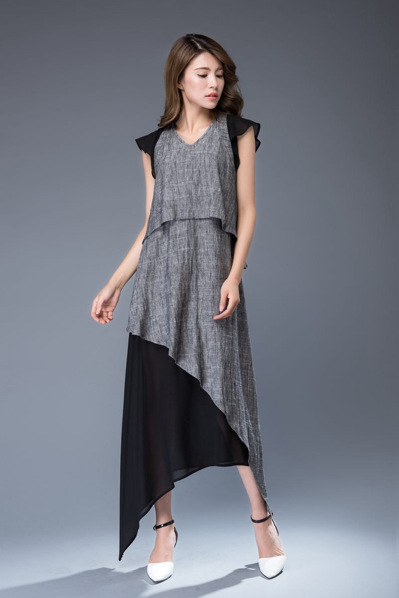 Gray and Black Tiered Dress