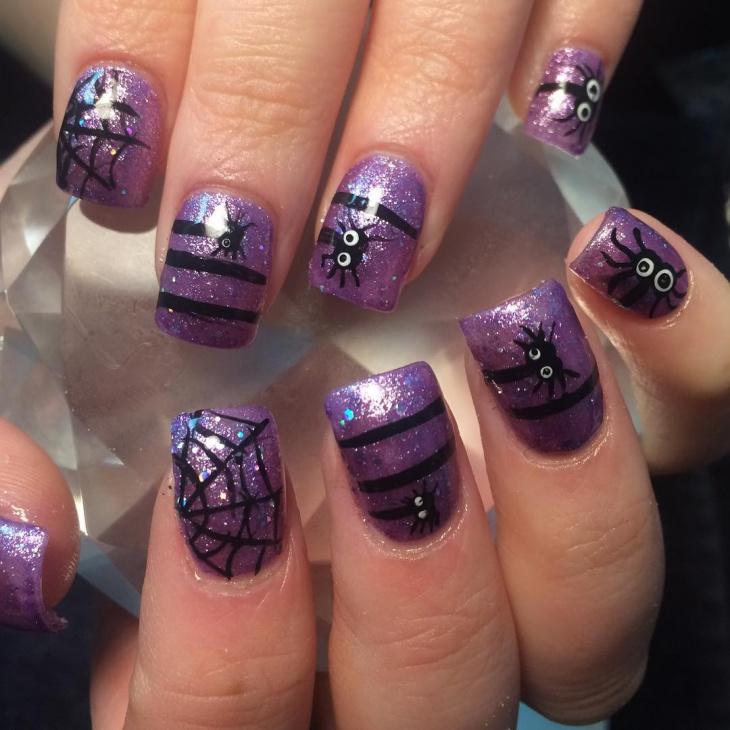 glitter spider web nails