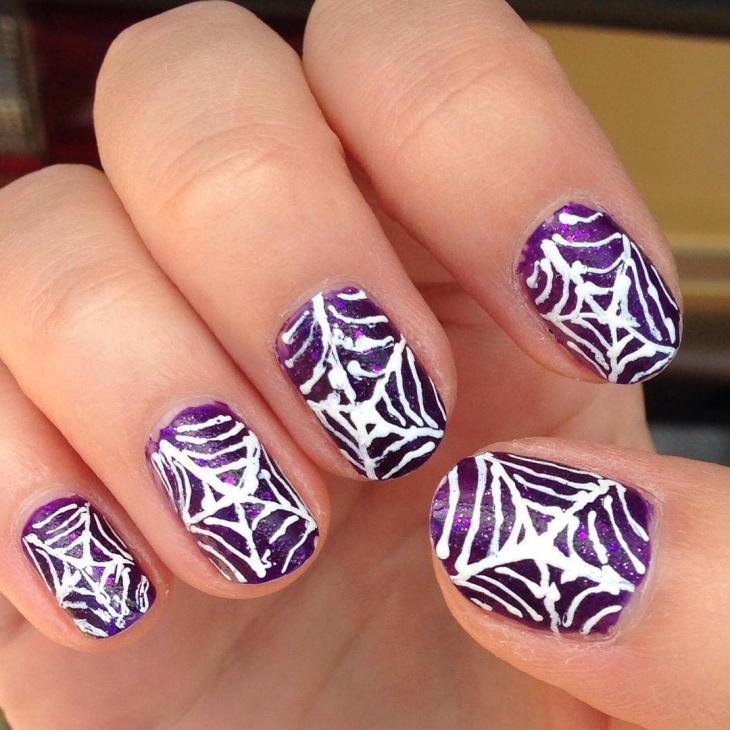 Purple Spider Web Nail Design - 21+ Spider Web Nail Art Designs, Ideas Design Trends - Premium PSD
