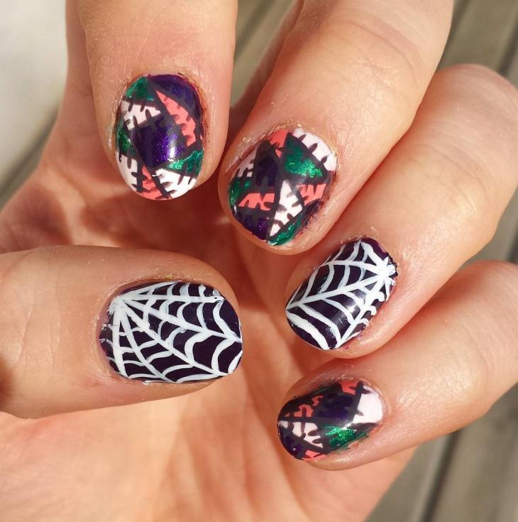 crazy spider web nails