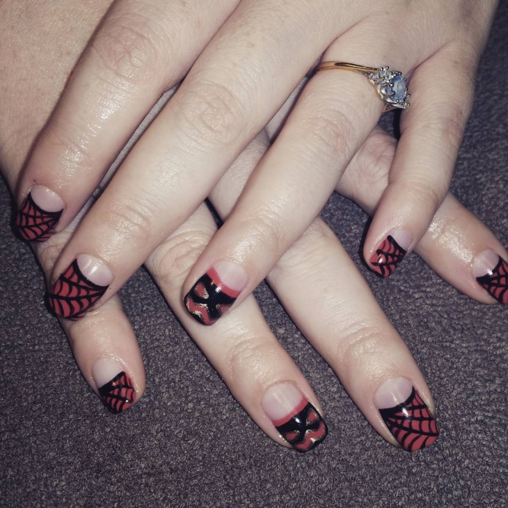 Red and Black Spider Web Nail Art