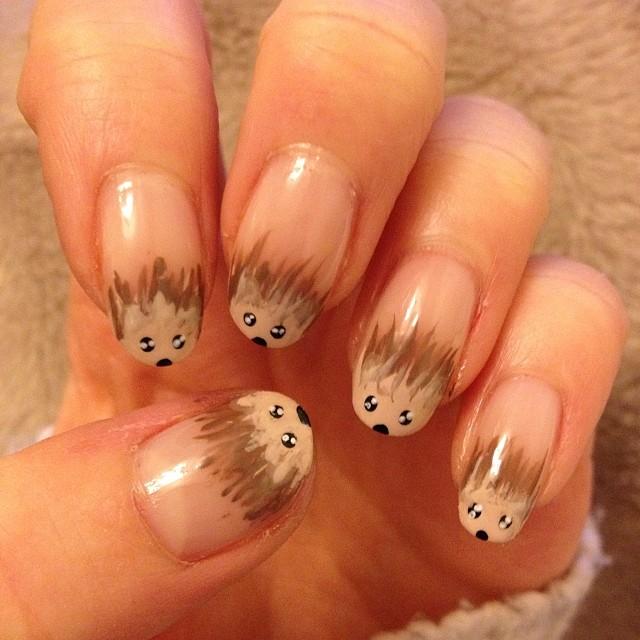 Hedgehog Tip Nail Design