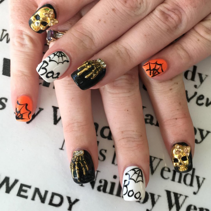Funky Spider Web Nail Design
