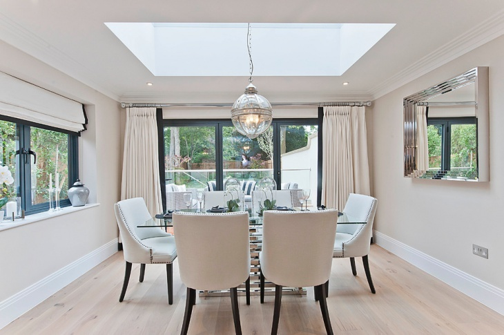 Dining Room Skylight with Chandelier