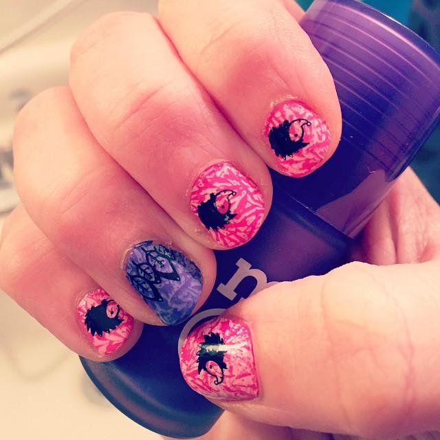 Pink Hedgehog Nail Design