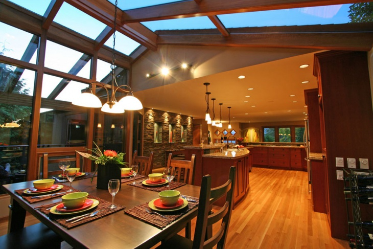 Wooden Dining Room Skylight