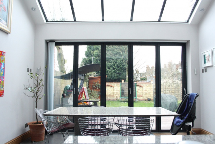 Trendy Glass Skylight Dining Room