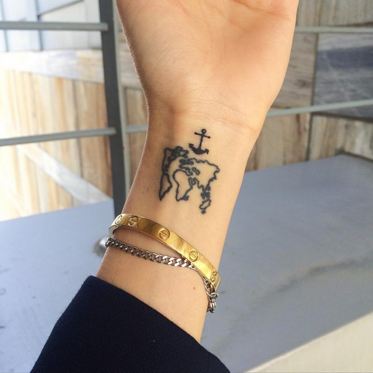 world map wrist tattoo design