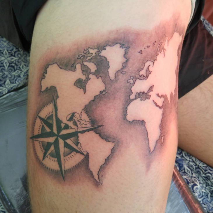 unique world map tattoo