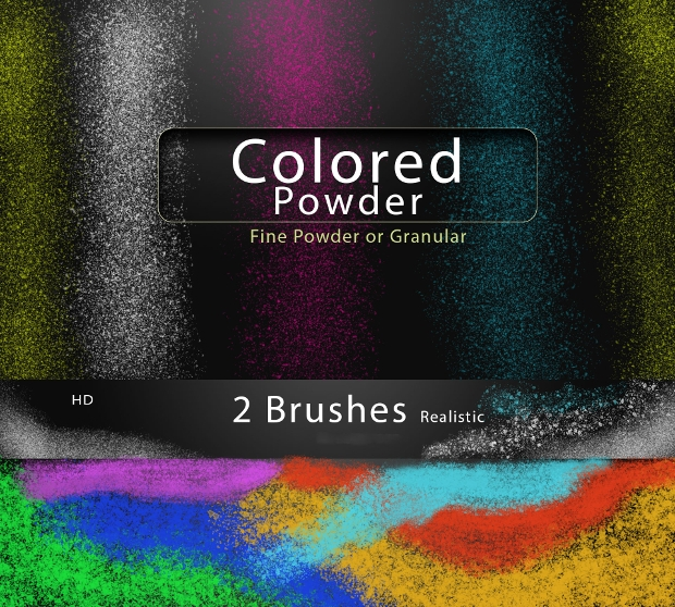 colored powder brushes