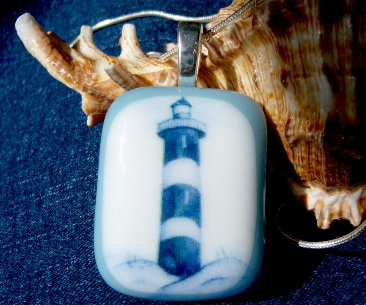 glass lighthouse pendant