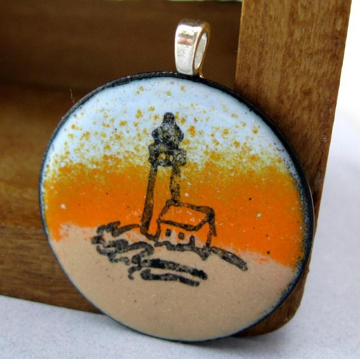 sunset lighthouse pendant