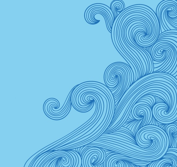 Hand Drawn Waves in Doodle Style Vector
