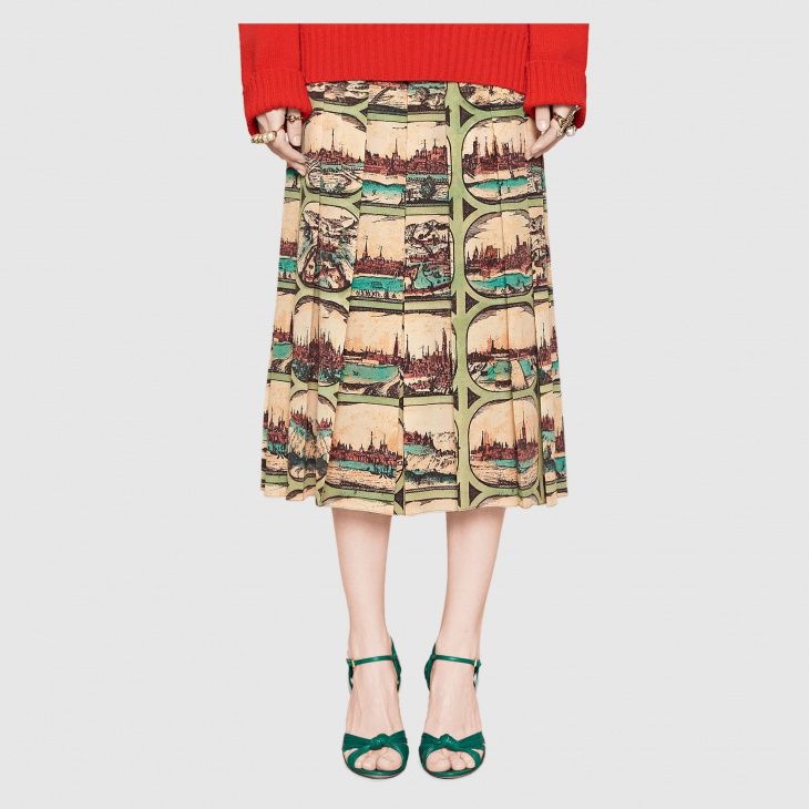 postcard print silk skirt1
