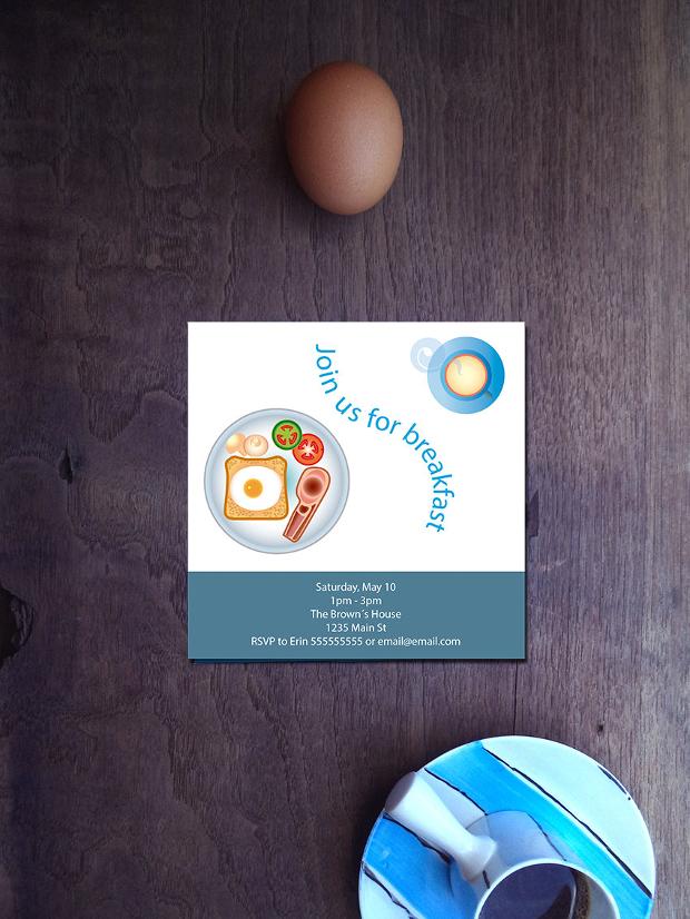 Customized printable Breakfast invitation