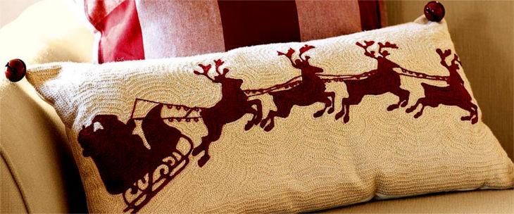 sleigh bell crewel embroidered lumbar pillow