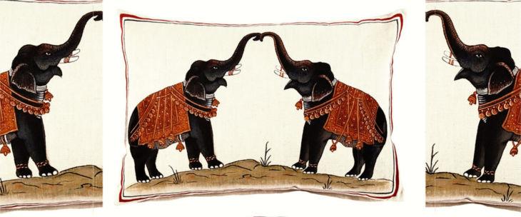 two elephants decorative pillow