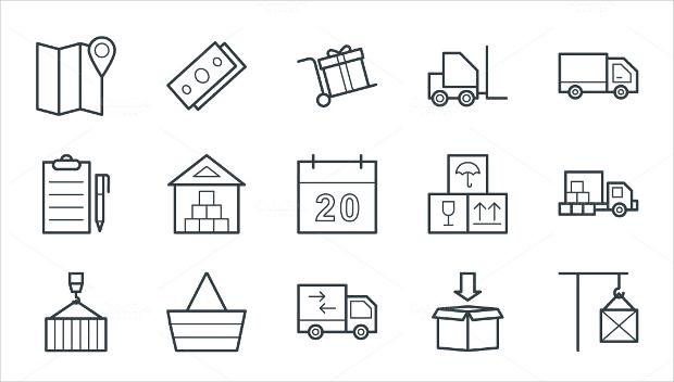 logistics delivery icons set