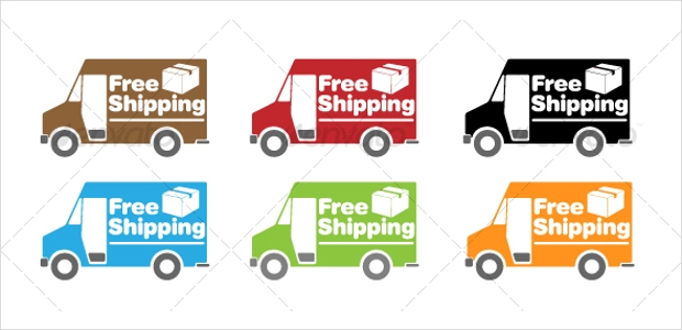 shipping truck icons set