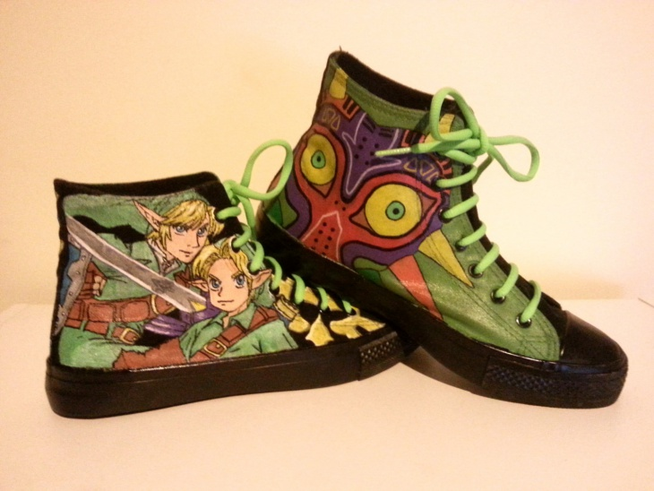 anime green lace shoes