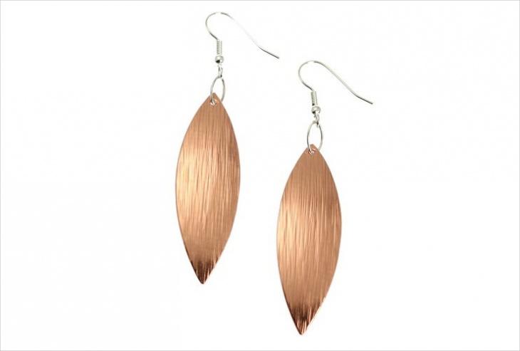 Copper Leaf Drop Earrings