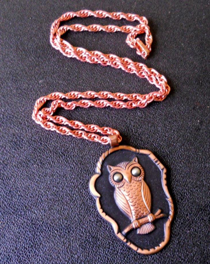 Copper Owl Pendant Necklace