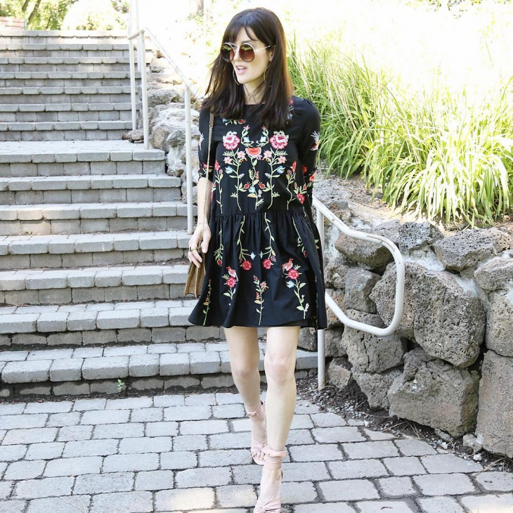 Embroidered Black Shift Dress