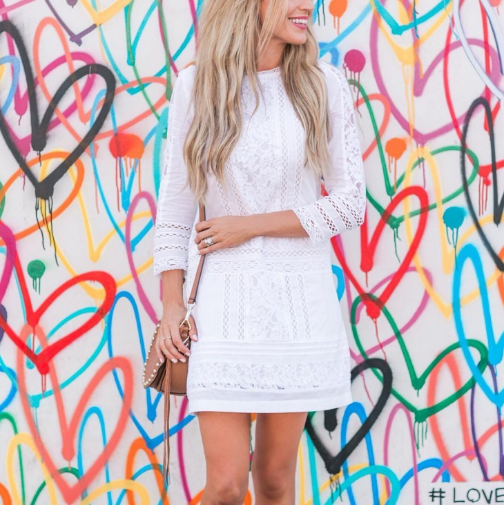 White Embroidered Shift Dress