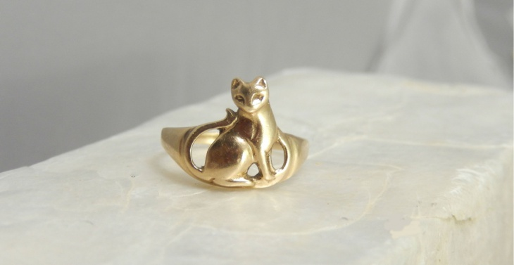 antique kitty cat ring