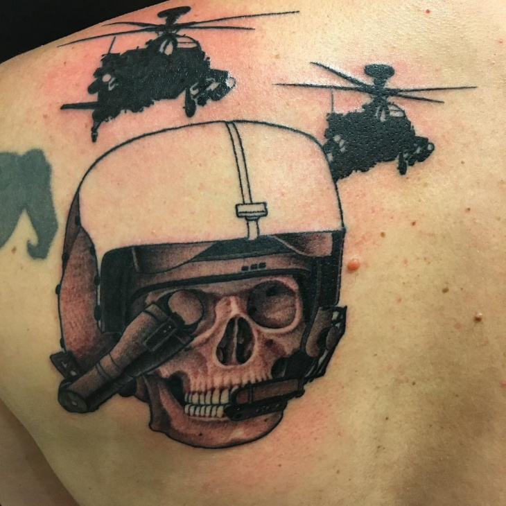 skull helicopter tattoo