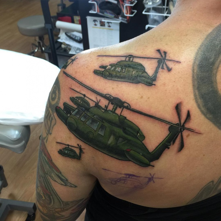 cartoon helicopter tattoo