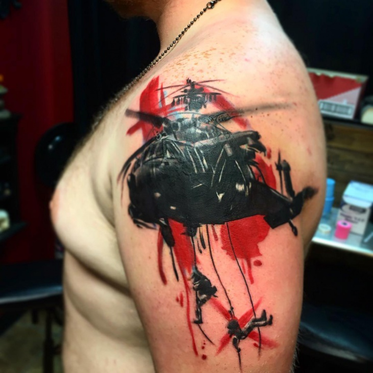 war helicopter tattoo